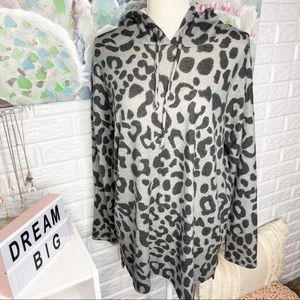 Pink Lily Grey Leopard Print Hoodie